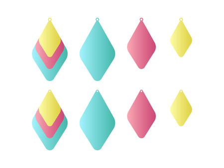 Stacked earrings. Laser cut template. Pendant. Earrings with hole. Jewelry making. Vector illustration Çizim
