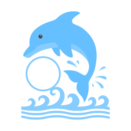 Jumping dolphin and a splash of water. Cute blue dolphin with a circle monogram in cartoon style. Vector illustration for swimming pool brochure or banner. Isolated on white background. Stock Illustratie