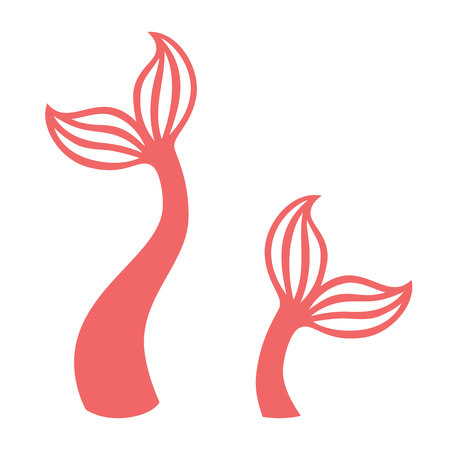 Mermaid tail. Silhouette of whale tail icon. Fish tail icon.