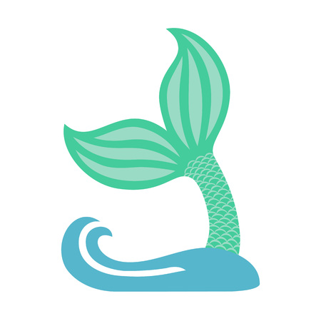Mermaid tail with wave. Silhouette of whale tail icon. Fish tail. Vector icon Vettoriali