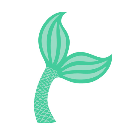 Mermaid tail. Silhouette of whale tail icon. Fish tail. Vector icon illustration.