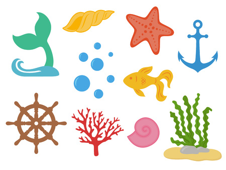Underwater. Under the sea - mermaid tail, starfish, seashells, gold fish, coral, seaweed, handwheel, anchor bubbles Sea life Marine animals Vector illustration