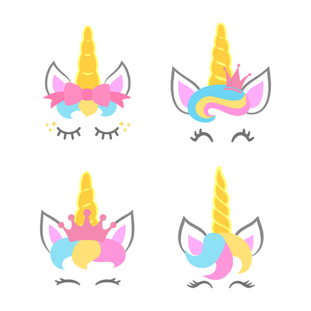 Cute unicorn faces. Unicorn heads. Unicorn constructor. Vector illustration Çizim