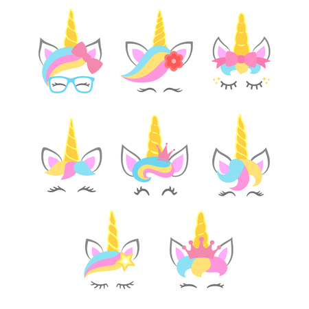 Collection of cute unicorn faces. Unicorn heads. Vector illustration