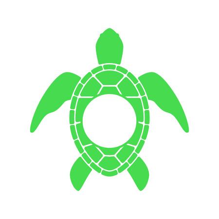 Sea turtle. Turtle silhouette - circle monogram. Vector icon isolated on white background.
