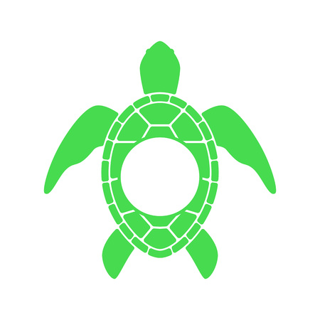 Sea turtle. Turtle silhouette - circle monogram. Vector icon isolated on white background.