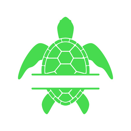 Sea turtle. Turtle silhouette - split monogram. Vector icon isolated on white background.
