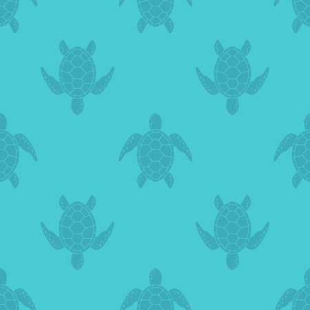 Vector pattern with sea turtle. Blue texture with turtle silhouette. Illustration