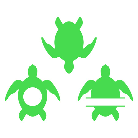 Sea turtle. Turtle silhouette. Split and circle monograms. Vector icons isolated on white background.