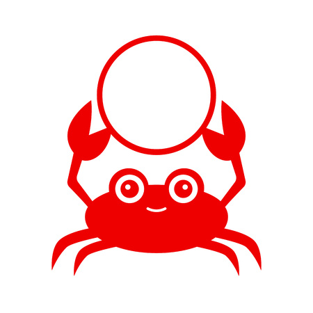Funny red crab. Crab silhouette - circle monogram. Vector icon isolated on white background.