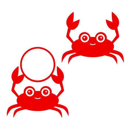 Funny red crab. Crab silhouettes - monograms. Vector icon isolated on white background.