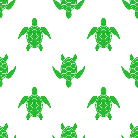 Vector pattern with sea turtle. Texture with turtle silhouette on white background. Illustration