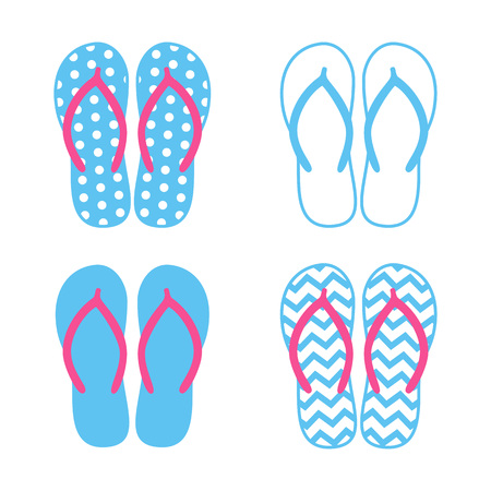 Colorful flip flops. Beach slippers. Sandals. Vector icon isolated on white background.