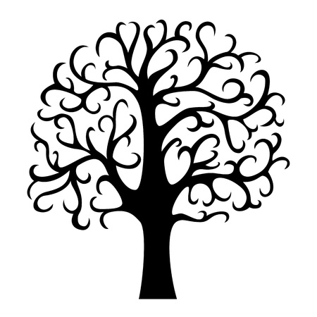 Family tree silhouette. Life tree. Vector illustration isolated on white background