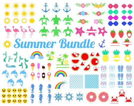 Big summer bundle with design elements. Turtle, Sun, seahorse, mermaid tail, rainbow, flamingo, watermelon, pineapple, dolphin anchor strawberry crab palm donut shells Vector illustration