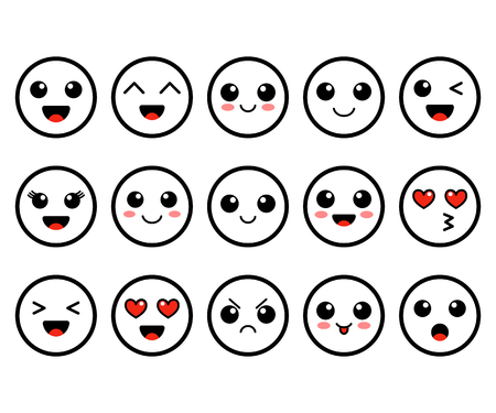 Set of emoji. Kawai outline faces. Cute emoticons. Flat smileys. Vector illustration isolated on white background.