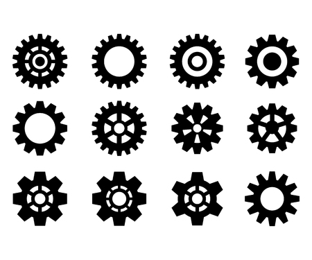 Set of the gears. Steampunk. Black gear wheels icons. Cog wheels. Vector illustration isolated on white background. Illusztráció