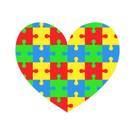 Heart of puzzles. Jigsaw. World autism awareness day. Vector illustration Illusztráció