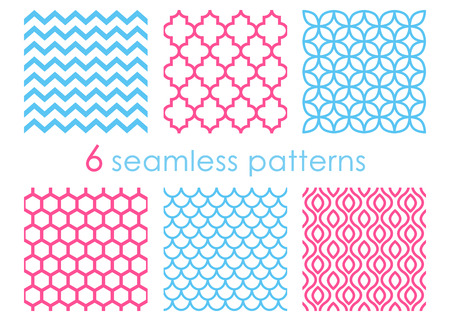 Set of seamless patterns. Geometric backgrounds. Abstract textures. Mermaid pattern. Chevron backdrop. Hexagon background. Vector illustration isolated on white background Illustration