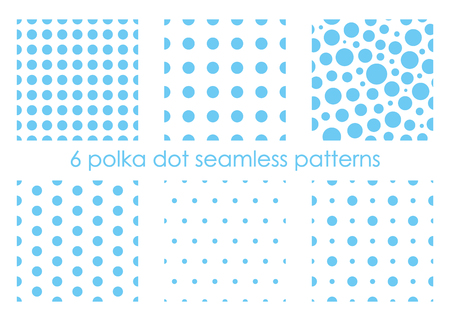 Set of seamless dotted patterns. Polka dot backgrounds. Abstract textures. Blue backdrops. Vector illustration.