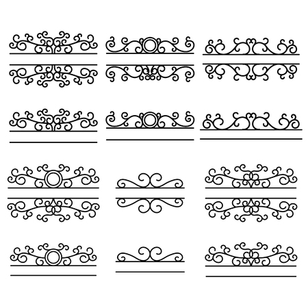 Hand drawn dividers. Split frames. Text divider. Mailbox monogram. Vintage line borders