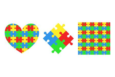 Kolekcja puzzli. Puzzle. Serce. Wzór. Kolorowe tło. Ilustracje wektorowe na białym tle. Ilustracje wektorowe