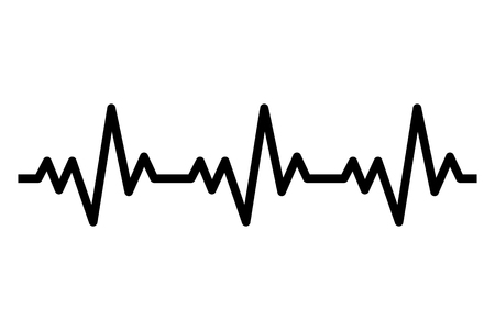 Heartbeat line icon. Heart rhytm. ECG. Electro Cardiogram. Vector illustration isolated on white background. Çizim