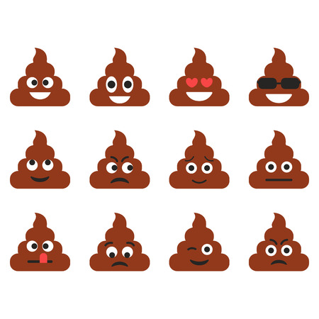 Set of the poop emoticons. Cute emoji icons. Cartoon emotions. Vector illustration isolated on white background.
