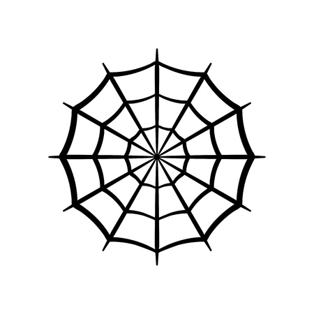 Spider web icon. Circle cobweb vector silhouette. Spiderweb clip art. Flat vector illustration isolated on white background.