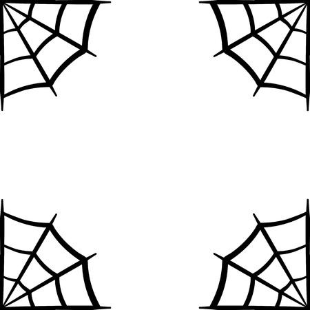 Spider web icon. Spider web frame. Cobweb vector silhouette. Spiderweb clip art. Flat vector illustration isolated on white background.