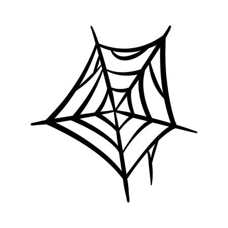 Spider web icon. Cobweb vector silhouette. Spiderweb clip art. Flat vector illustration isolated on white background. Ilustração