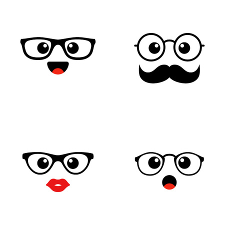 Set of emoji. Kawai cute faces. Funny emoticons. Flat icons. Vector illustration. Ilustração