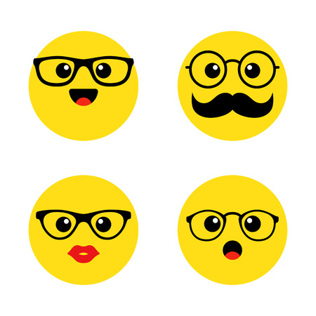 Set of nerd emoticons with glasses. Kawai cute faces. Funny emoticons. Flat icons. Vector illustration. Ilustração