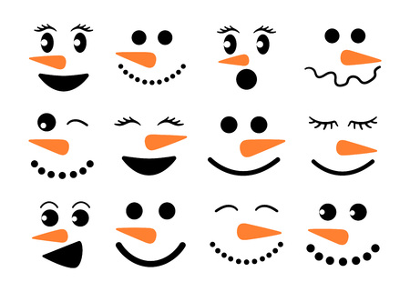 Cute snowman faces - vector collection. Snowman heads. Vector illustration isolated on white background.