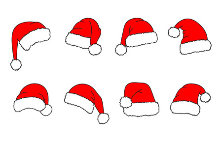 Santa hats - vector set. Christmas hats collection. Red cap. Vector illustration isolated on white background. Ilustração