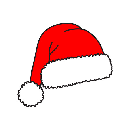 Santa hat - vector icon. Christmas hat. Red cap. Vector illustration isolated on white background. Ilustração