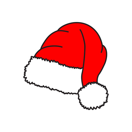 Santa hat - vector icon. Christmas hat. Red cap. Vector illustration isolated on white background. Ilustracja