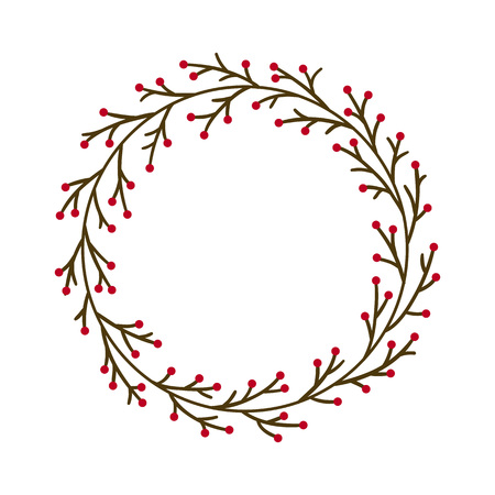 Christmas JOY wreath. Hand drawn vector round frame for invitations, postcards, greeting cards, quotes, logos, posters and more. Vector illustration isolated on white background Banco de Imagens - 127435378
