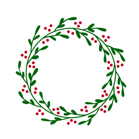 Christmas JOY wreath. Hand drawn vector round frame for invitations, postcards, greeting cards, quotes, logos, posters and more. Vector illustration isolated on white background Ilustração
