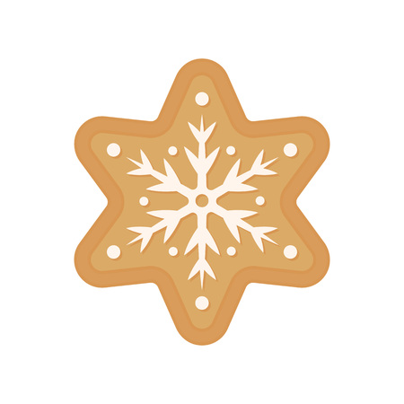 Christmas cookie - vector. Gingerbread cookie. Star. Snowflake cookie isolated on white background. Ilustracja