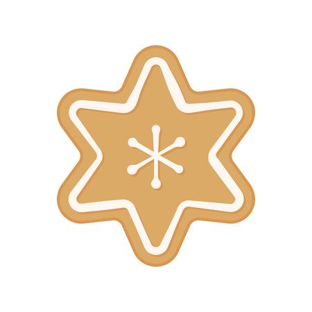 Christmas cookie - vector. Gingerbread cookie. Star. Snowflake cookie isolated on white background. Illustration