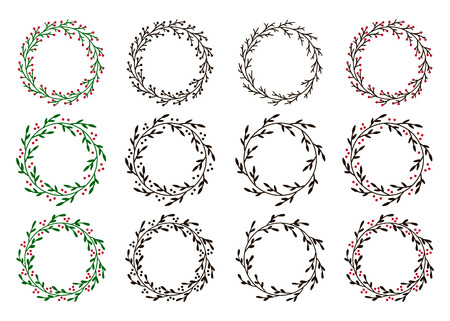 Collection of christmas wreaths. Hand drawn vector round frames for invitations, postcards, greeting cards, quotes, logos, posters and more. Vector illustration isolated on white background Ilustração