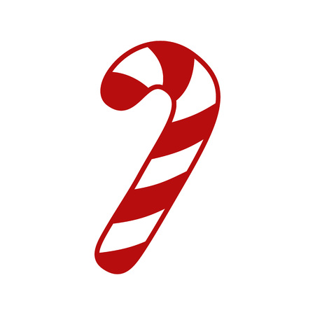 Candy cane - vector icon. Christmas candy cane with red and white stripes. Peppermint candy cane isolated on white background. Ilustração