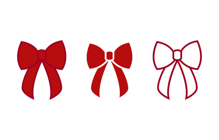 Bow - vector icons. Red bows. Christmas bows - flat vector illustration isolated on white background