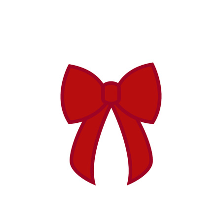 Bow - vector icon. Red bow. Christmas bow - flat vector illustration isolated on white background Ilustração