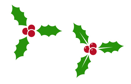 Holly berry - vector icon. Holly berry leaves. Christmas symbol isolated on white background.