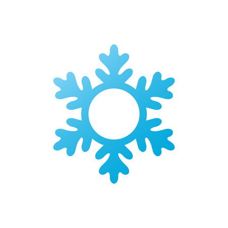 Snowflake - vector icon. Christmas symbol. Winter snowflake - circle monogram isolated on white background. Ilustração
