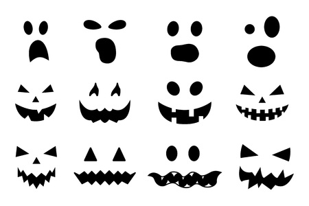 Vector set of Halloween pumpkin faces isolated on white background. Jack-o-lantern. Scary Halloween ghost faces. Pumpkin smiley faces. Vector illustration