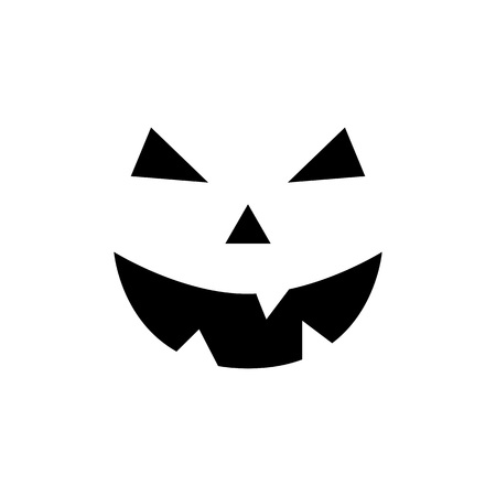Halloween pumpkin face. Pumpkin smiley face isolated on white background. Jack-o-lantern. Scary Halloween ghost face. Vector illustration