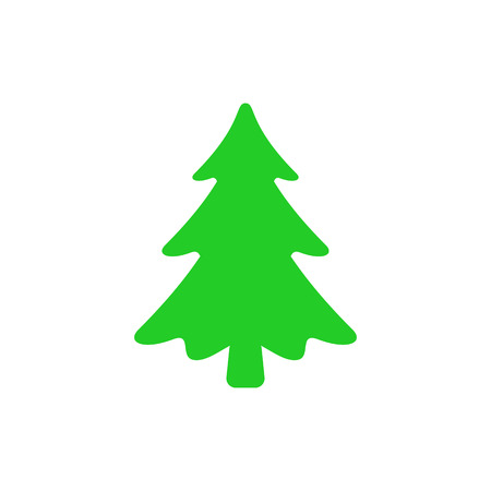 Christmas tree - flat vector icon. Christmas tree silhouette. Fir tree simple vector illustration isolated on white background Banco de Imagens - 126517877